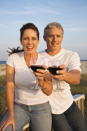 toasting wine: Couple drink red wine on the beach and toast to the camera. Vertical shot.