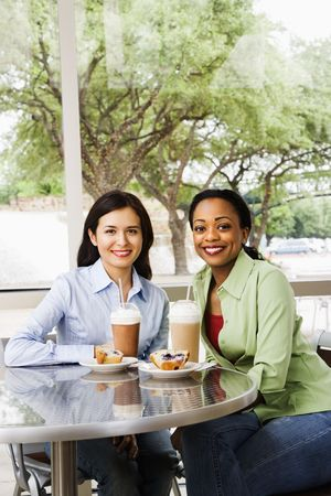 Two smiling woman sitting enjoying muffins and coffee drinks at a cafe. Vertical shot. photo
