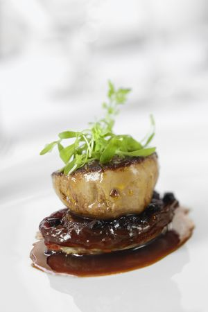 fine dining: Dinner entree in gourmet restaurant with sprouts and brown sauce. Vertical shot.
