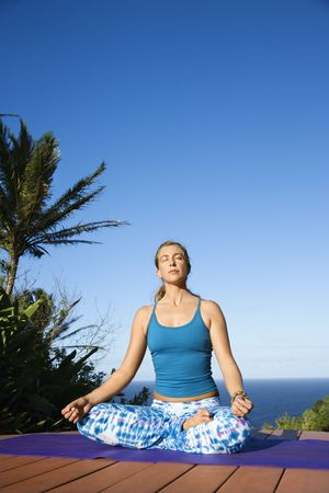Attractive young woman in blue sits on an exercise mat doing yoga with the ocean in the background. Vertical shot. Stock Photo - 6455364