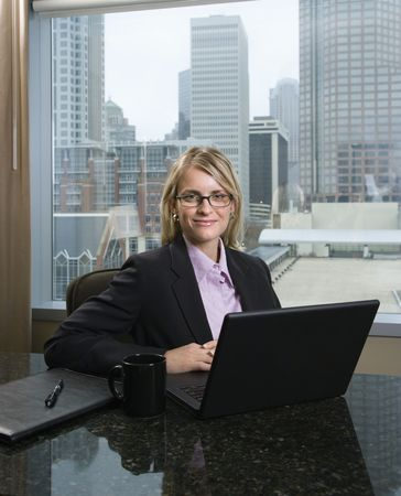 Caucasian businesswoman smiles at the camera while sitting at her laptop. The city can be seen through the window in the background. Vertical shot. Stock Photo - 6455287