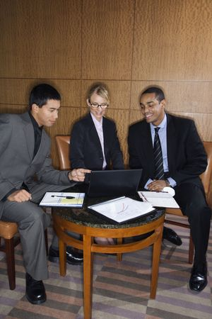 ethnically diverse: Three ethnically diverse business people sit at a small table and look at a laptop together. Vertical format.