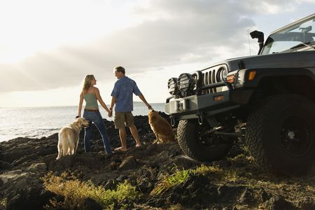 Rear view of a man and woman holding hands and relaxing with their dogs at a beach with the edge of an SUV visible in the foreground. Horizontal format. photo