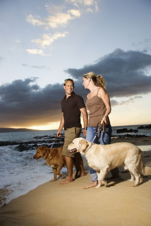 A man and woman smile at each other as they walk their dogs on a beach. Vertical format. photo