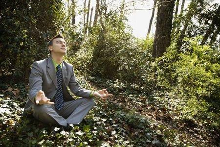 Young businessman sits in a lotus position meditating in the woods as sunlight filters in through the trees. Horizontal shot. Stock Photo - 6455440