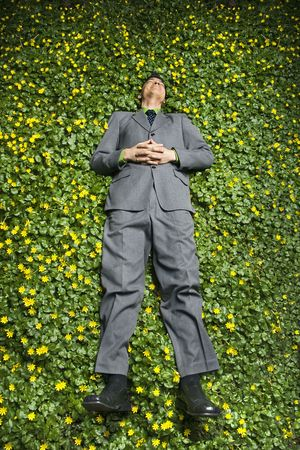 Young businessman relaxing in a bed of flowers and smiling with contentment. Vertical shot. Stock Photo - 6455358