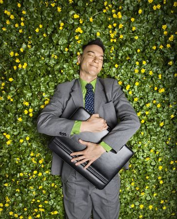 Young businessman with briefcase relaxing in a flower patch smiling with contentment. Stock Photo - 6455455