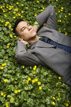 Young businessman with relaxing in a flower patch thinking. Vertical shot. Stock Photo - 6455442