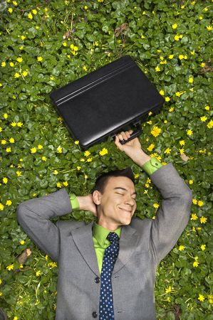Young businessman holds his briefcase above his head and smiles while lying in a bed of flowers. Vertical shot. photo