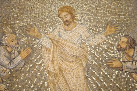 disciples: Mosaic of Christ and His disciples in St Peters Basilica. Horizontal shot.