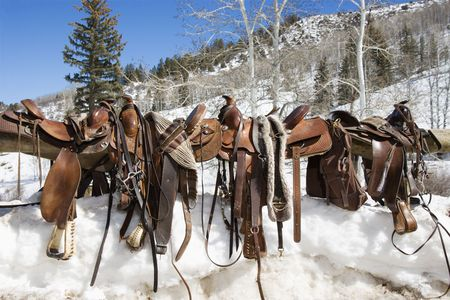 tacks: Four Western saddles sitting on a rail with a snowy landscape in the background. Horizontal shot. Stock Photo