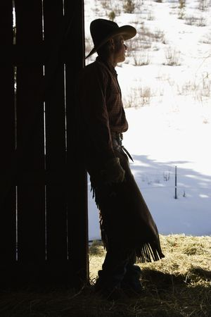 man profile: Silhouette of a cowboy leaning in a barn doorway, looking outside. Vertical shot.