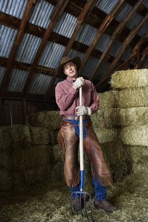 pitchfork: Man wearing a cowboy hat and chaps leaning on a pitchfork. Behind him are bales of hay. Vertical shot.
