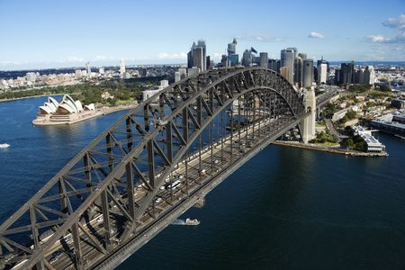 steel arch bridge: Aerial view of Sydney Harbour Bridge in Australia. Horizontal shot.