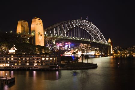 Low angle night view of Sydney Harbour Bridge in Austraila. Horizontal shot.