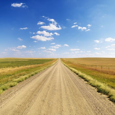 both sides: Scenic dirt road extending to the horizon with fields on both sides. Square format.