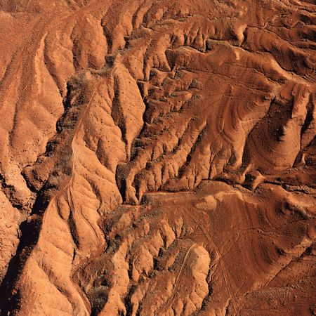 craggy: Aerial view of an arid, craggy landscape. Square shot.