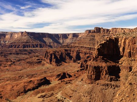 craggy: Aerial view of an arid, craggy landscape. Horizontal shot. Stock Photo