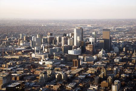 Aerial view of the Denver Colorado cityscape on a hazy day. Horizontal shot. Stock Photo - 6429661