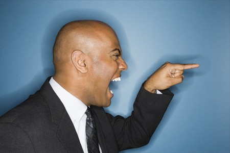 African American businessman screaming and pointing. Stock Photo - 6908257