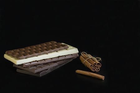 Chocolate bars on a black background
