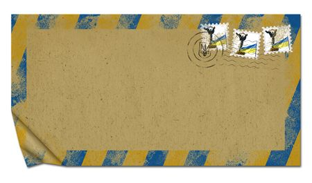 Envelope with the national flag and emblem  of Ukraine photo