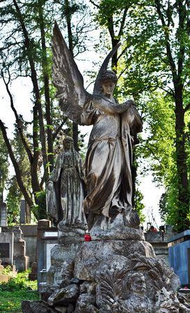 statue of angel at the Lychakov cemetery, Lviv, Ukraine photo
