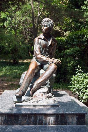Monument to the famous Russian poet Alexander Pushkin from 1880 in Gurzuf, Crimea, Ukraine Stock Photo - 5601461