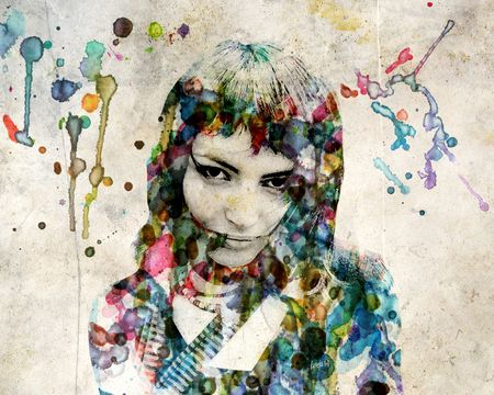 The grange watercolor portrait of a beautiful girl  photo