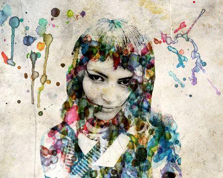 The grange watercolor portrait of a beautiful girl