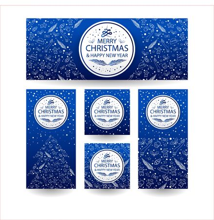 banner for your christmas with blue for base colour. and simple line art for background. hope you like it :) 向量圖像