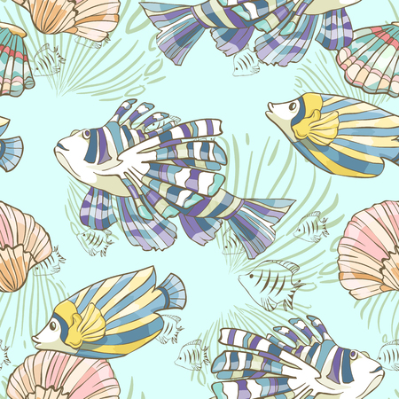 Seamless pattern with hand drawn sea fish and shells. Vector illustration. Illustration