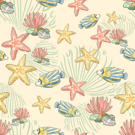 Seamless pattern with hand drawn fish and seastars. Underwater background.