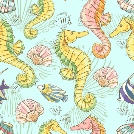Seamless pattern with seahorse, shells and fish on blue background.