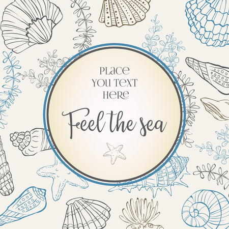 Template with sea elements. Round composition with shells. Ilustracja