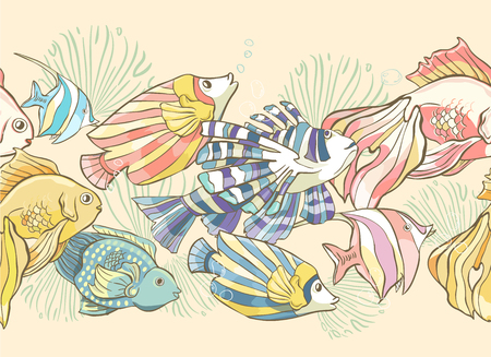 Seamless pattern with hand drawn sea fish and shells. Vector illustration. Page of coloring book Illustration