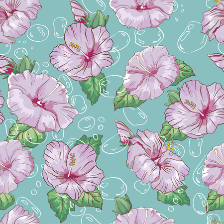 Pattern with hand drawn colorful hibiscus flower and bubbles