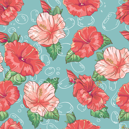 Pattern with hand drawn colorful hibiscus flower