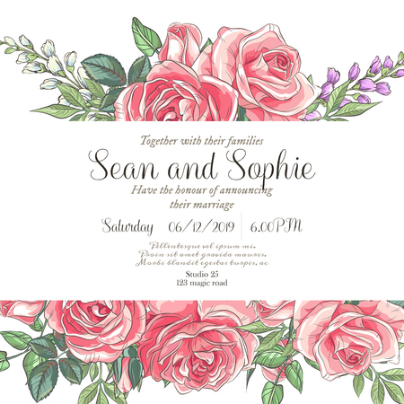 Vector delicate invitation with roses and bluebells for wedding, marriage, bridal, birthday, Valentine's day. Beautiful flower composition. Summer composition.