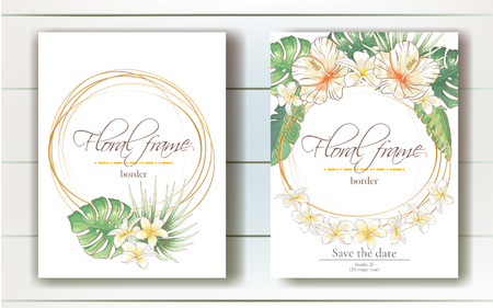 Vector delicate invitation with hibiscus and plumeria flowers and palm leaves for wedding, marriage, bridal, birthday, Valentine's day. Floral border with sketch colorful blossoms.