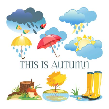 Autumn icons. set of weather icons. Banque d'images - 130484591