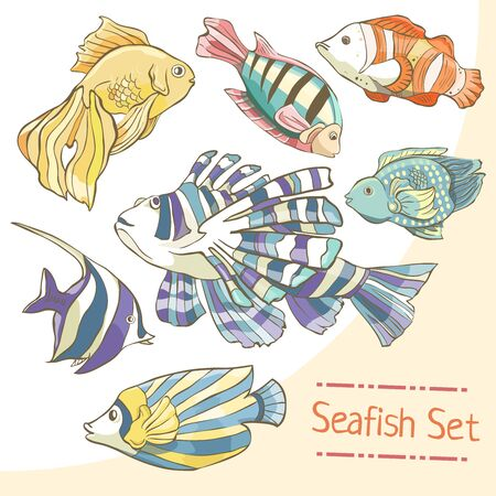 Set of hand drawn colorful sea fish on white background. Collection of bright fish Çizim