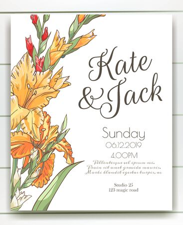 Vector delicate invitation with gladiolus for wedding, marriage, bridal, birthday, Valentines day. Beautiful flower composition template. Summer composition. Foto de archivo - 134435625