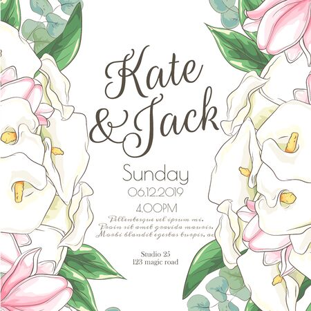 Vector delicate invitation with calla for wedding, marriage, bridal, birthday, Valentines day. Beautiful flower composition template. Summer composition. Foto de archivo - 134435626