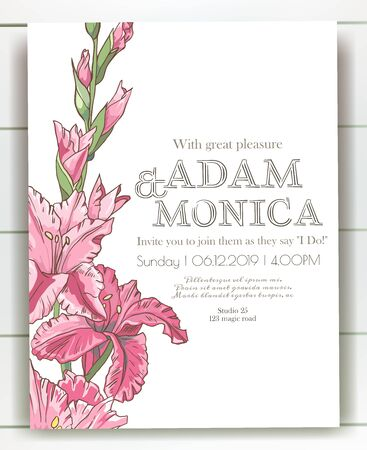 Vector delicate invitation with gladiolus for wedding, marriage, bridal, birthday, Valentines day. Beautiful flower composition template. Summer composition. Foto de archivo - 134435629