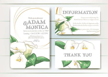Set of vector delicate invitation with calla for wedding, marriage, bridal, birthday, Valentines day. Beautiful flower composition template. Summer composition. Foto de archivo - 134435631