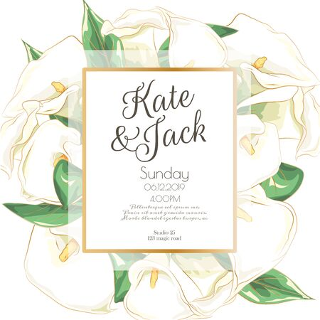Vector delicate invitation with calla for wedding, marriage, bridal, birthday, Valentines day. Beautiful flower composition template. Summer composition. Foto de archivo - 134435634
