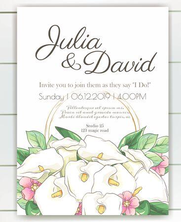 Vector delicate invitation with calla flowers for wedding, marriage, bridal, birthday, Valentines day. Foto de archivo - 134435636