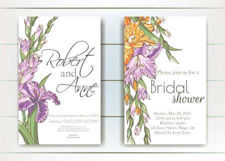 Vector delicate invitation with gladiolus for wedding, marriage, bridal, birthday, Valentines day. Beautiful flower composition template. Summer composition. Foto de archivo - 134435639