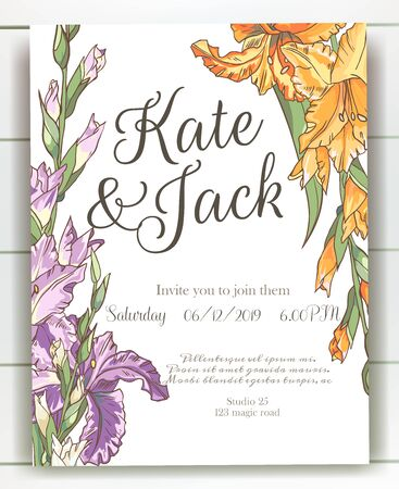 Vector delicate invitation with gladiolus for wedding, marriage, bridal, birthday, Valentines day. Beautiful flower composition template. Summer composition. Foto de archivo - 134435642